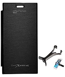 TBZ Flip Cover Case for Micromax Canvas Xpress 4G Q413 with Multi Stand Tablet/Phone Holder -Black