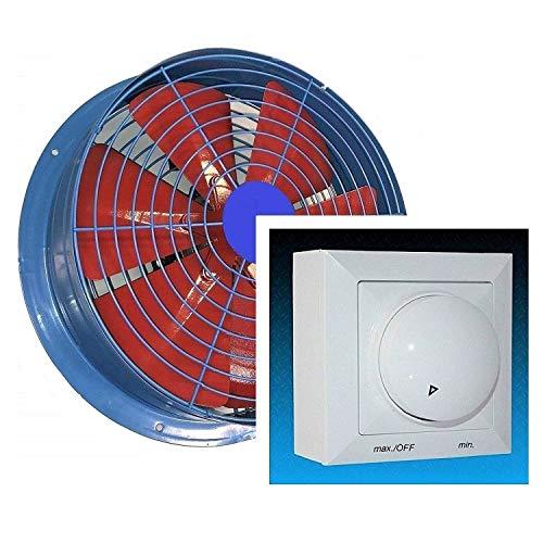 Uzman-Versand 450mm Industrie Wandventilator mit 500Watt DREHZAHLREGLER Axial Wand Ventilator Gebläse Metallventilator Motor Einbauventilator Einbaulüfter Wandgebläse Wandlüfter