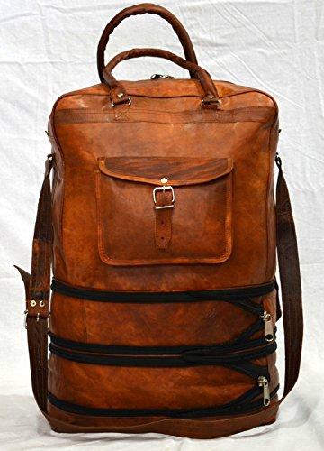 Vintage Leder Messenger braun Goat Hide Gepäck Reisetasche Rucksack Aktentasche (Erweiterbar Bag Braun Messenger)