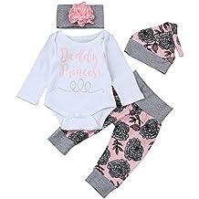 QUICKLYLY Recién Bebé Chica Carta Impresión Mameluco Tops + Floral Pantalones + Hat + Venda Trajes