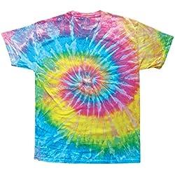 Camiseta de manga corta 123t con diseño de arcoíris realizado mediante la técnica de teñido anudado (en varios colores), tallas S, M, L, XL y 2XL Saturn Large