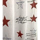 JEMIDI Ösenschal Rosen Stars Sterne USA 145cm x 285cm Ösengardine Leinenartige Oberfläche Schal Ösenvorhangm Vorhang Store Vintage Weiss
