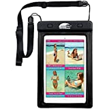 #1 SwimCell 100% Waterproof Case for iPad mini, Tablet, Kindle, Camera, Documents and other Valuables. Large and Small size. High Quality. For beach, pool, bath, kitchen or garden. Certified IPX8. Patented, Easy to use Twist Lock Seal. Adjustable Strap. Tested 20m Underwater. SCSTBK01 (Black, Small Tablet 15.3cm x 21.5cm)