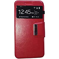 Funda libro Ventana ROJA para ALCATEL ONE TOUCH POP 3 (5.5 pulgadas)
