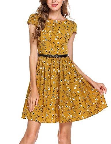 Zeagoo Damen Sommer Elegant Chiffonkleid Blumen Vintage Floral Druckkleid Hochzeit Festlich Partykleid mit Gürtel Taschen Gelb