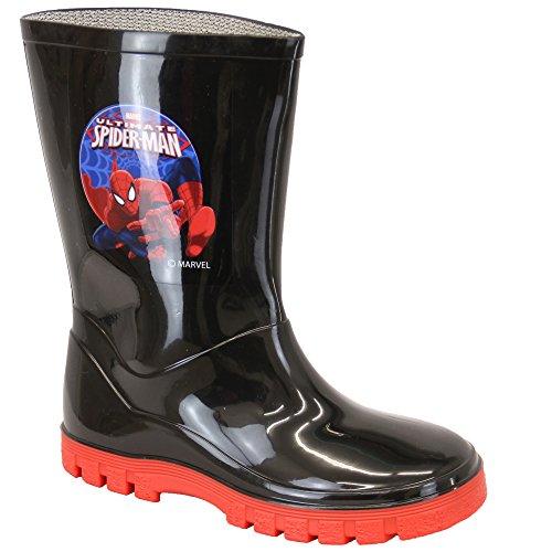 Stiefel Jungen Minion Gummistiefel Spiderman Olaf Star Wars Wadenlang Disney Schwarz/Rot - SPIDWELLY