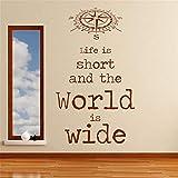 stickers muraux etoile jaune La vie est courte et le monde est vaste pour la chambre à coucher du salon...