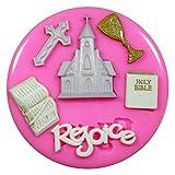 Erste heilige Kommunion Kirche Kreuz Religion Silikon Form für Kuchen Dekorieren, Kuchen, kleiner Kuchen Toppers, Zuckerglasur Sugarcraft Werkzeug durch Fairie Blessings