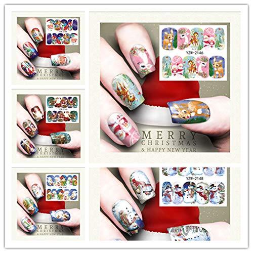 (QinMM Weihnachten Nail Art, Wassertransfer Abziehbilder Schneeflocke Nageldekoration Weihnachten Maniküre Aufkleber Tipps 1 Stück Nette Mehrfarbig (U))