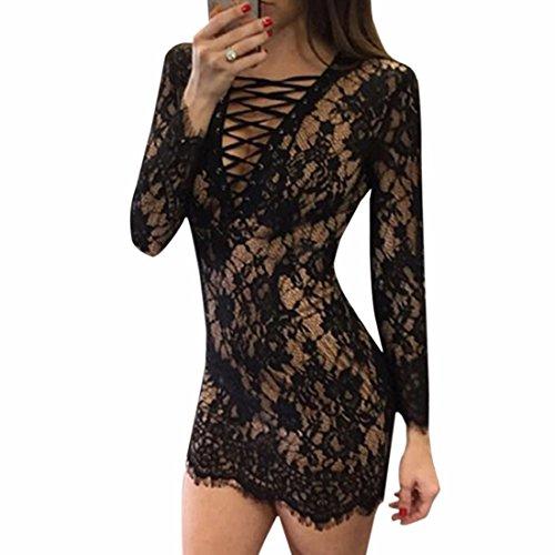 Spitze-Ineinander greifen hohle Langarm V-Ausschnitt-Kleid-Frauen-transparente Paket-Huefte-Kleid Schwarz