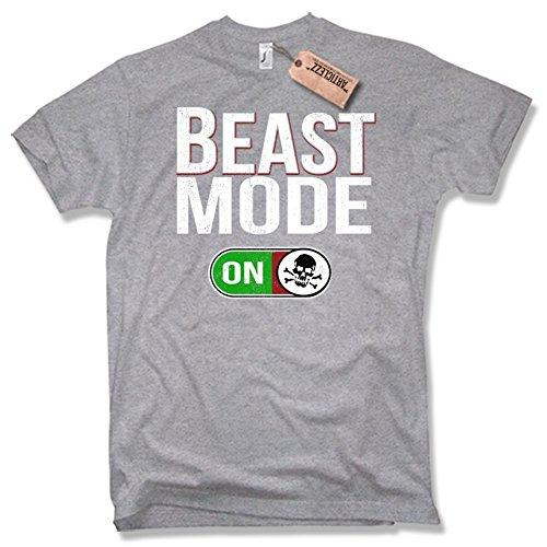BEAST MODE T-Shirt, Fitness, Skull, verschiedene Farben, Gr. S - XXL grau / grey / melange
