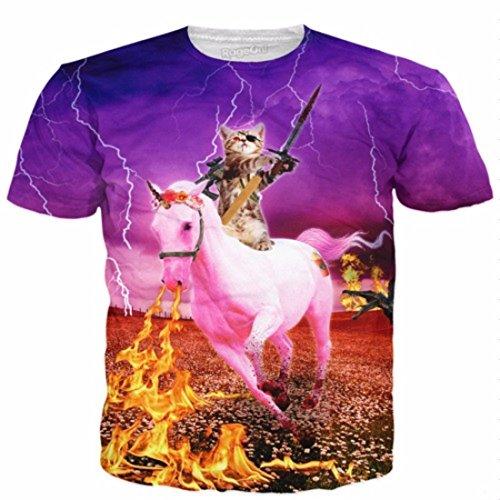Men's 3D Killer Laser Kitty Printed Casual Tee Shirt 14