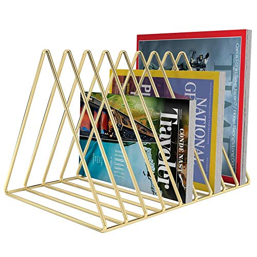 Hi-Smile Dreieck Buchstützen, rutschfeste Bücherregal Metall Bücherregal Bücher Veranstalter Schreibtisch Buchstütze für Office & Home Dekoration-Gold -