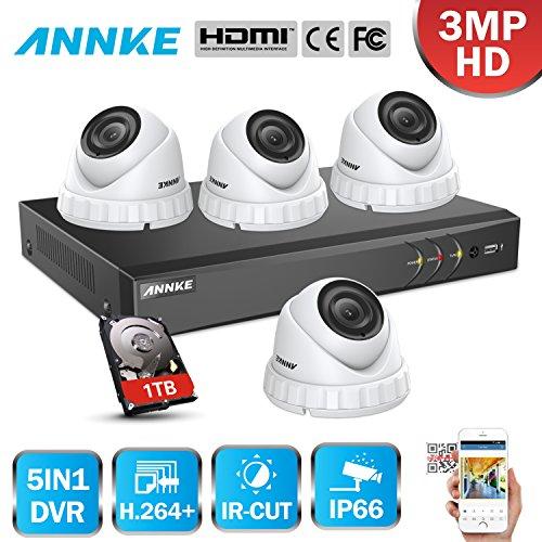 ANNKE-3MP-Kit-de-Seguridad-8CH-DVR-y-4-Cmaras-de-Vigilancia-CCTV-3MP-DVR-8-Canales-Cmara-Metal-IP66-Exterior-y-Interior-LED-Infrarrojos-Visin-Nocturna-Deteccin-de-Movimiento-1TB-Disco-Duro