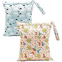 BOBORA Sac à Couche de Bébé à Fermeture Eclair Etanche Réutilisable Lavable avec Motifs des Animaux et des Fleurs--2Pack