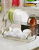 #6: GTC 2 Tier Kitchen Dish Rack Crockery Cutlery Plates Holder Glass Organizer Stand Utensils Modern Storage Chrome Finish Shelves 42CM-S