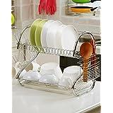 GTC 2 Tier Kitchen Dish Rack Crockery Cutlery Plates Holder Glass Organizer Stand Utensils Modern Storage Chrome Finish Shelves 42CM-S