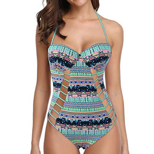 Asalinao Badebekleidung für Damen, Frauen Ethnic Print Seide Mesh Sexy Bikini Einteilige Badebekleidung Strandanzug