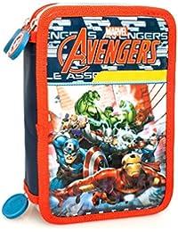 Marvel Los Vengadores 61224 Estuche 3 bisagras, plumier Triple, 44 Piezas