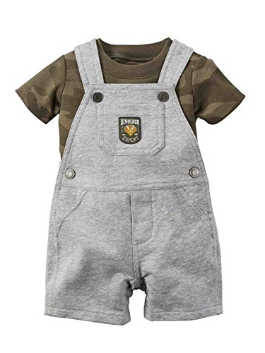 Carters's Kurze Latzhose + T-Shirt Sommer Set Baby Junge Shorts Camouflage Tarnfarbe grau Outfit Boy (0-24 Monate) (6 Monate, grau) (Carters Baby Boy Newborn-sets)
