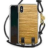 DeinDesign Apple iPhone XS Carry Case Hülle zum Umhängen Handyhülle mit Kette Holz Look Eichenholz Maserung