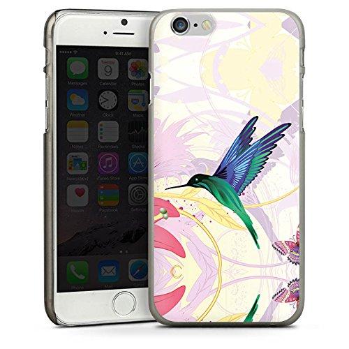 Apple iPhone 5s Housse Étui Protection Coque Colibri Oiseau Fleur CasDur anthracite clair