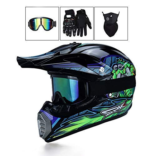 LEENY Motocross-Helm, Herren Motorradhelm mit Brille/Maske/Handschuhe, Motorrad Sports Off-Road DH Enduro-Helm ATV MTB-Helm Quad Motorräder Cross-Helm für Männer Damen, Schwarz Grün Monster Muster,XL