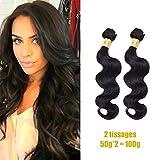 2 Tissage Indien en lot Cheveux Naturels Boucle pas cher Human Hair Vierge 50g/p 8poouces(20cm) Noir Body wave Hairich