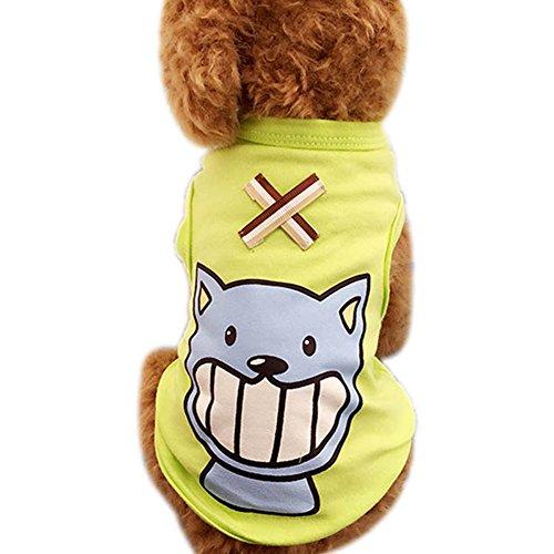 PerGrate Ropa para perro, diseño de gato y cachorro de verano, algodón, estampado de dibujos animados, camisetas, vestidos, abrigos, talla grande