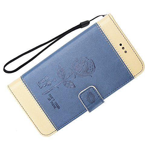 EKINHUI Case Cover Dual Color Matching Premium PU Leder Flip Stand Case Cover mit Card Cash Slots und Lanyard für Huawei P10 ( Color : Brown ) Blue