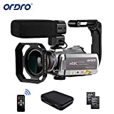 Videokamera 4K Camcorder, ORDRO AZ50 Video Kamera 4K 30FPS Videokamera WiFi 2.4/5G IR Nachtsicht mit Stereo Mikrofon, Weitwinkelobjektiv, Kameratasche