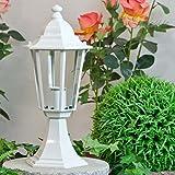 Rustikale Standleuchte in weiß inkl. 1x 12W E27 LED 230V Stehleuchte aus Aluminium & Glas Stehlampe für Garten/Terrasse Weg Terrasse Lampen Leuchte Beleuchtung