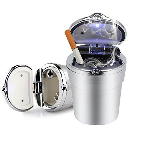 mi ji Porte-ROCITA Cendrier Voiture Portable avec LED Cigarette Coupe de lumière Automatique de la Coupe (Argent)