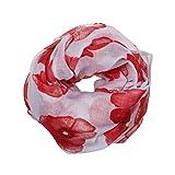 Manadlian [New Arrival Design] Mode Damen Neu Roter Mohn Drucken Langer Schal Blume Strand Wickeln Damen Stola Schal (Weiß)