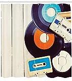 Abakuhaus Duschvorhang, Schallplatten und Alte Audiokassetten auf Holztisch Nostalgie Musik Vintage Style Digital Druck, Wasser und Blickdicht aus Stoff mit 12 Ringen Bakterie Resistent, 175 X 200 cm