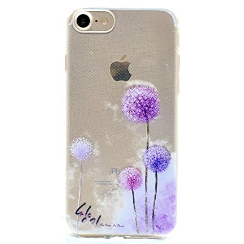 Etsue Doux Protecteur Coque pour iPhone 6/6S,Silicone TPU Matériau Frame est Transparent Soft Cover pour iPhone 6/6S,Coloré Motif par Dessin de Mode Case Coque pour iPhone 6/6S + 1 x Bleu stylet + 1 x Pissenlit