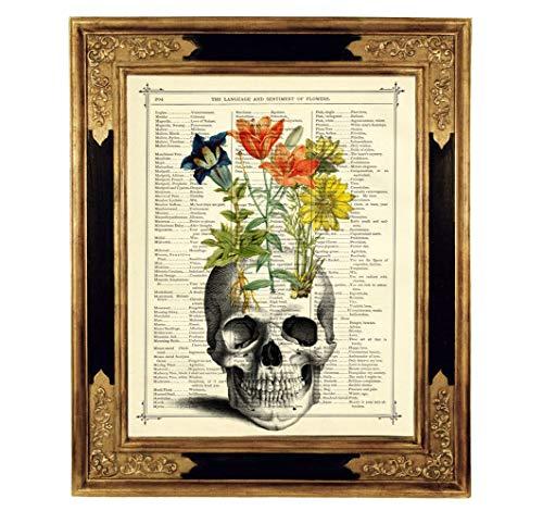 (Totenkopf Blumen Gothic Poster Kunstdruck auf viktorianischer Buchseite Totenschädel Geschenk Halloween Dekoration Steampunk ungerahmt)