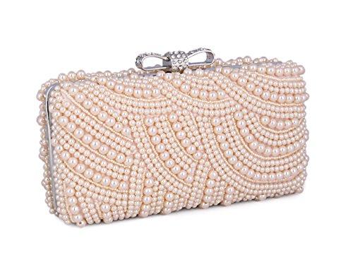 Adoptfade Damen Abendtasche Clutch Elegant Zweizeitig Perlen Mit Schleife Verschluss, Champagne