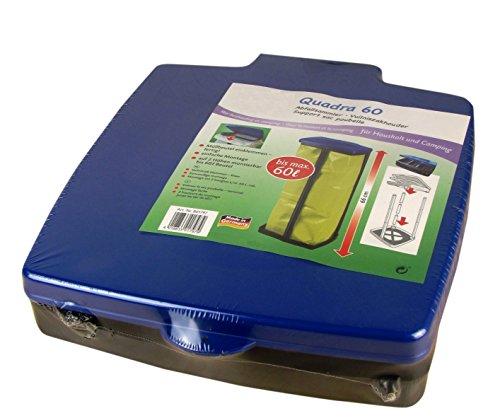 *Müllsackständer mit Deckel – Für Müllsäcke bis 60 Liter – 3-fach höhenverstellbar – Müllsackhalter – Abfallbehälter – Abfallsammler für Haushalt oder Camping (Blau)*