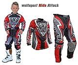 WULFSPORT ATTACK MX Bambini Tuta Moto Pantaloni e Maglia Bambini Moto Scooter ATV Quad Motocross...