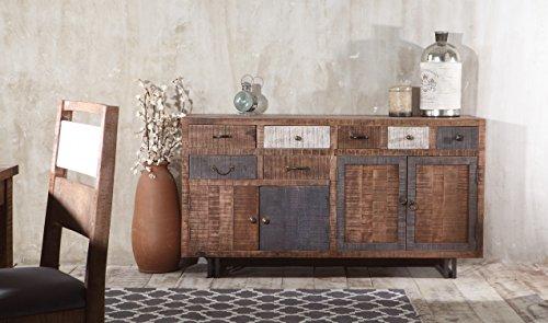 The Wood Times Sideboard Vintage Wohnzimmerschrank Massiv New Rustic Mangoholz, FSC Zertifiziert, BxHxT 160x90x40 cm - 2