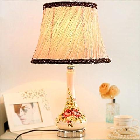 LILSN-Simple modern decorative garden style bedroom bedside lamp desk lamp creative fashion hand-painted vase