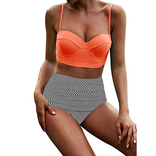 JUTOO Frauen Hohe Taille Bikinis Bademode Retro Beachewear -