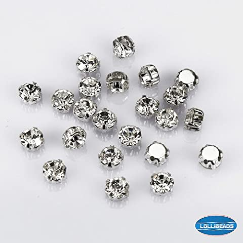 LolliBeads (TM) 50 Pcs Crystal Ringed Sew on Rhinestone Czech Glass with Silver Plated Brass Base Prongs Cup, White 7 mm