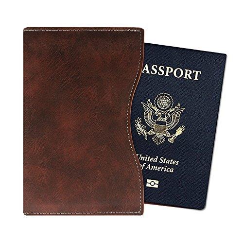 Fintie Funda para Pasaporte - Súper Delgada y Ligera Cubierta Cover Case de Cuero Sintético Superior Protector con Bloqueo RFID para Pasaporte, Dark Brown