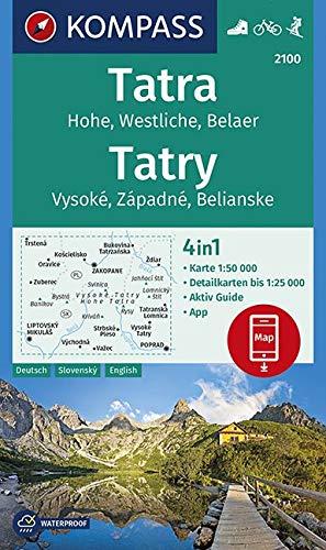 KOMPASS Wanderkarte Tatra, Hohe, Westliche, Belaer, Tatry, Vysoké, Západné, Belianske: 4in1 Wanderkarte 1:50000 mit Aktiv Guide und Detailkarten ... 1:50 000 (KOMPASS-Wanderkarten, Band 2100)