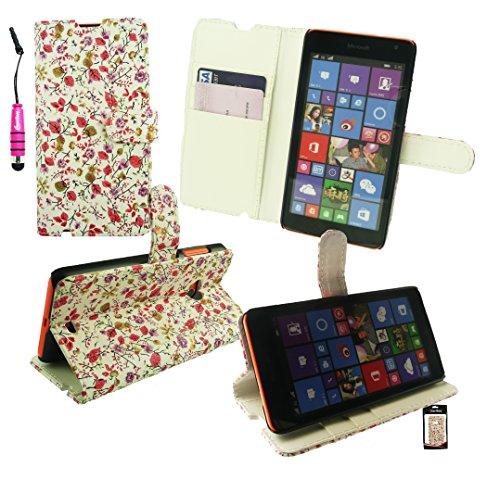 Emartbuy® Eingabestift Packfür Microsoft Lumia 640 LTE / Lumia 640 LTE Dual Sim Metallic Mini Hot Rosa Eingabestift + Desktop Stand Brieftasche Case Cover Hülle Floral Print mit KRotitkartenfächern + LCD Displayschutz
