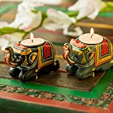 #3: Exclusivelane Handmade & Hand-Painted Elephant Tea-Light Holder Set In Wood
