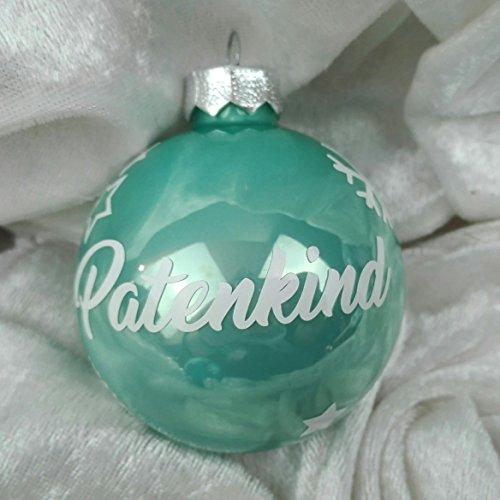 Christbaumkugel mit Namen Eisblau glänzend Glas