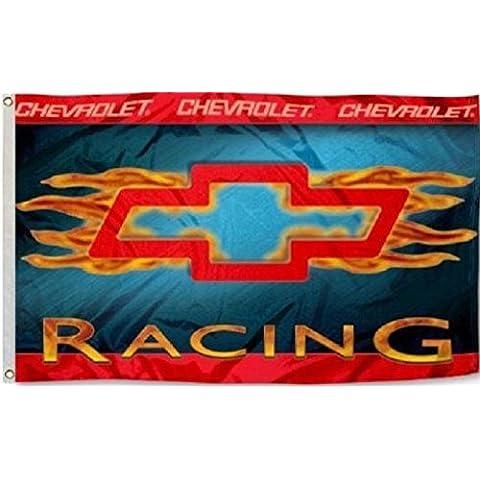Chevrolet Racing Flamed Bowtie Car Flag 3' x 5' Deluxe Indoor Outdoor Banner by Nuge - Racing Chevrolet